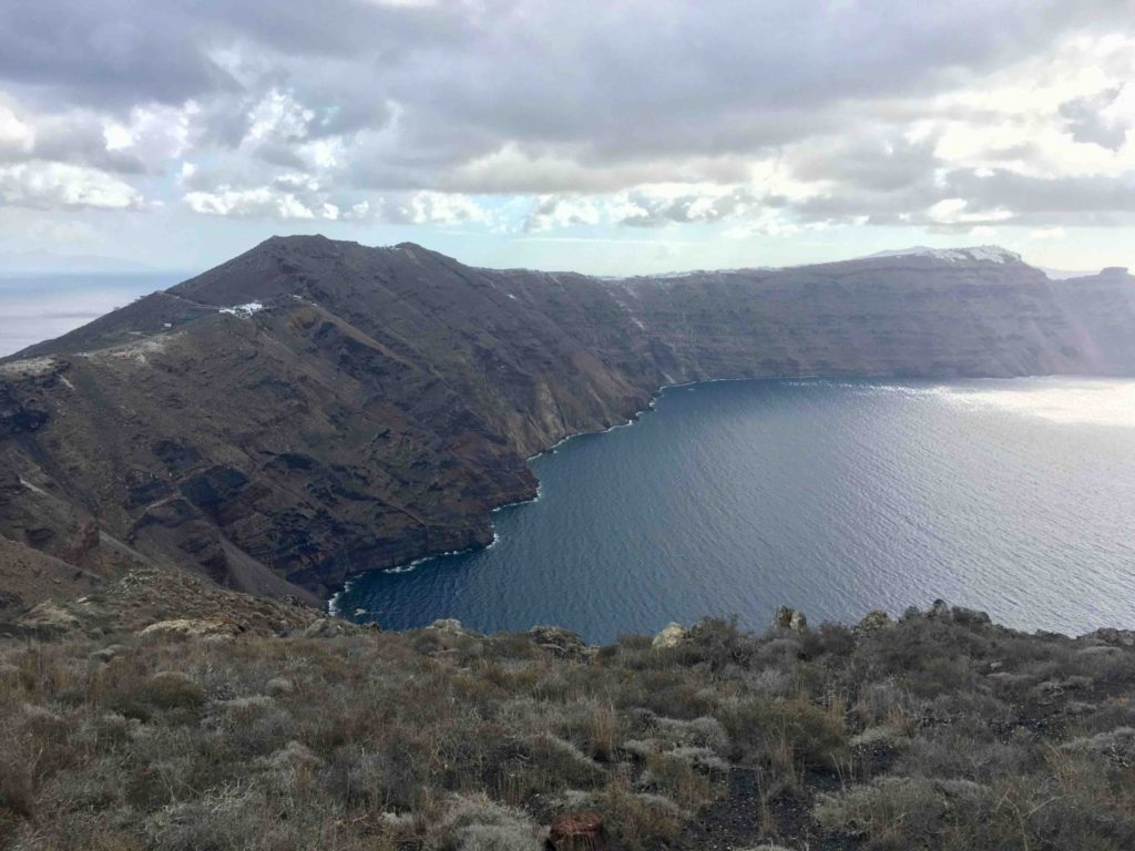 View of the caldera. Imerovigli is off in the distance with Skaros rock on the far right.