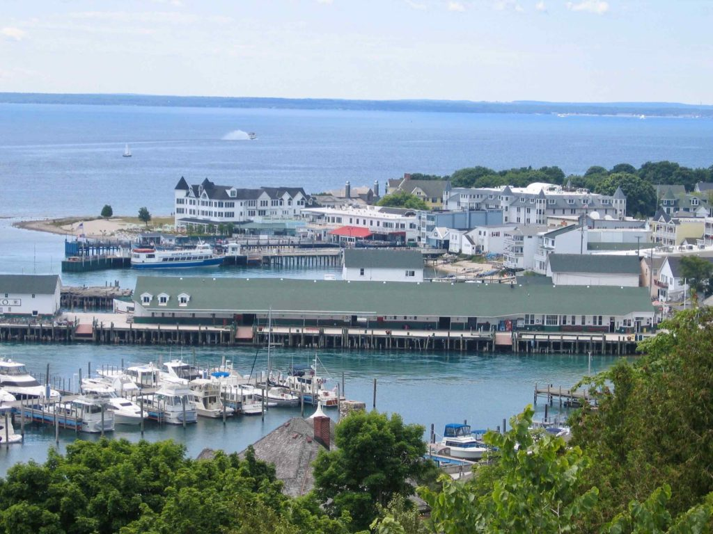Downtown Mackinac, harbor, and marina.