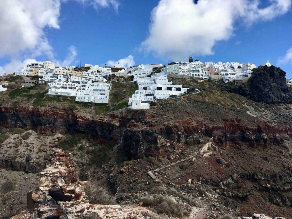 Looking up at Imerovigli from Skaros Rock.