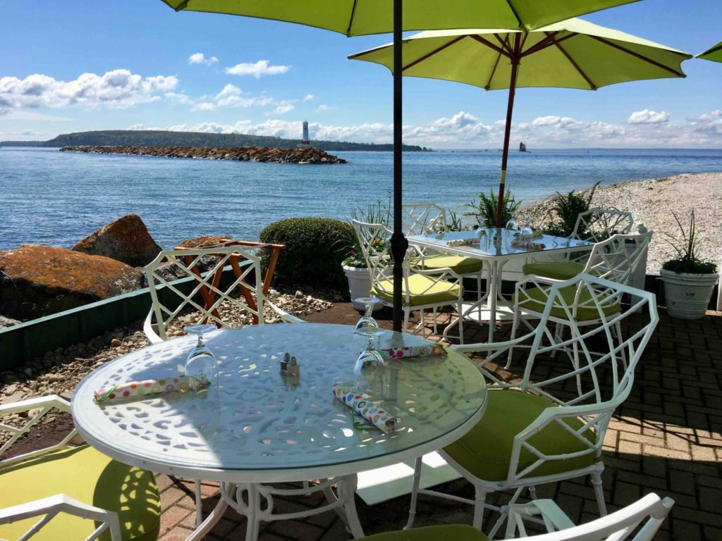 Waterfront dining at the Carriage House restaurant.