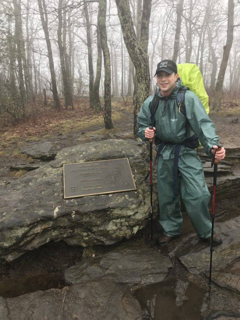 After 8.8 miles of wet and muddy terrain, I finally arrived at the summit of Spring Mountain, the start of the AT!