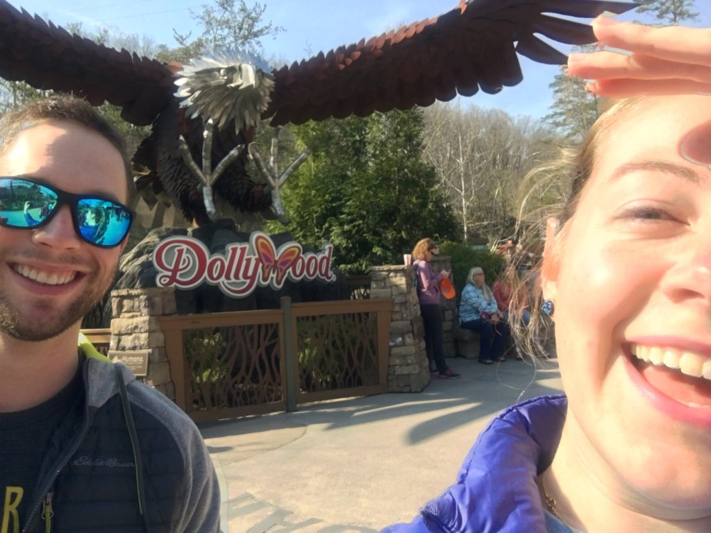 Lindsey and I at the entrance to the Wild Eagle roller coaster at Dollywood