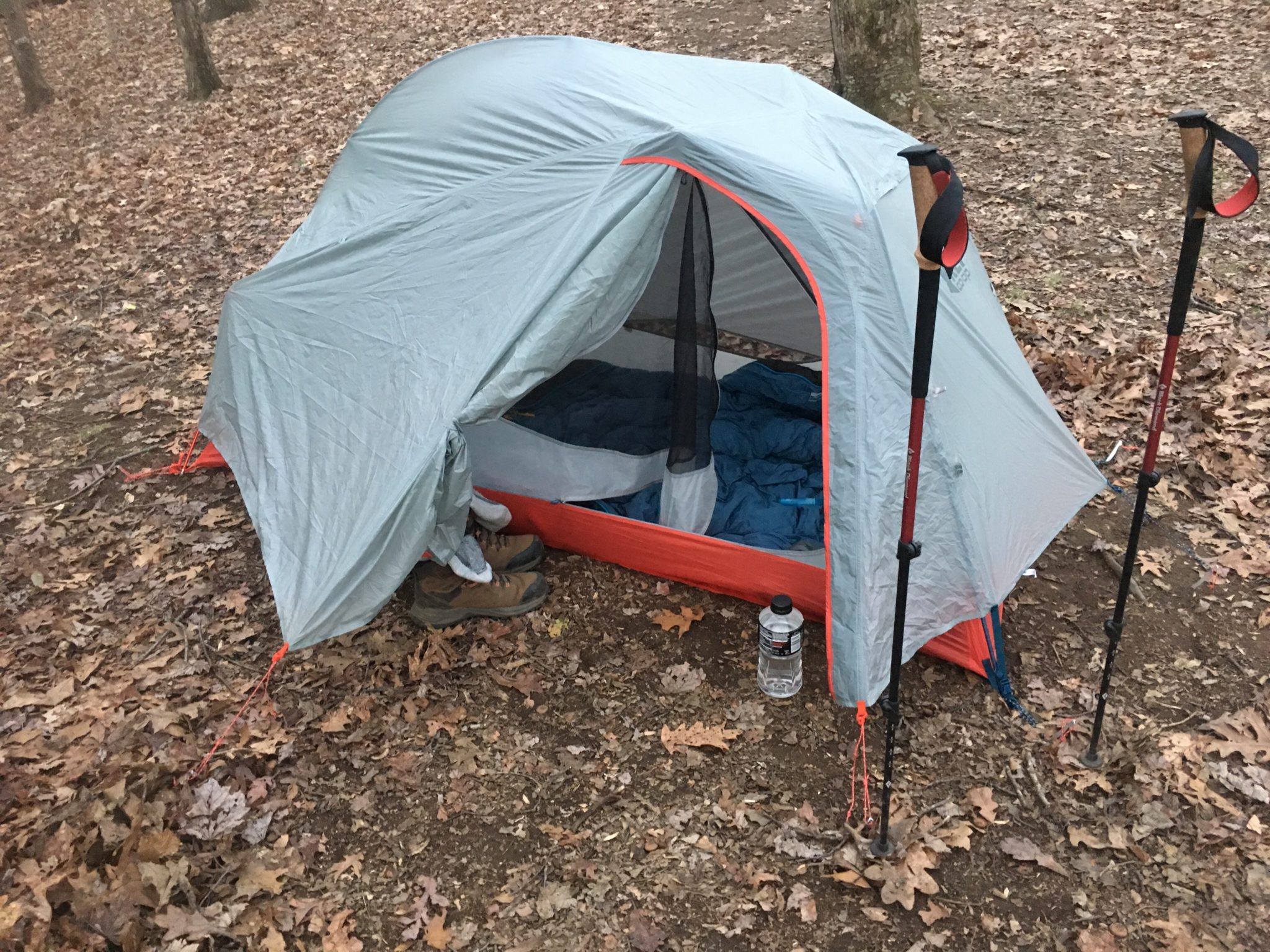 First time pitching the tent on the trail