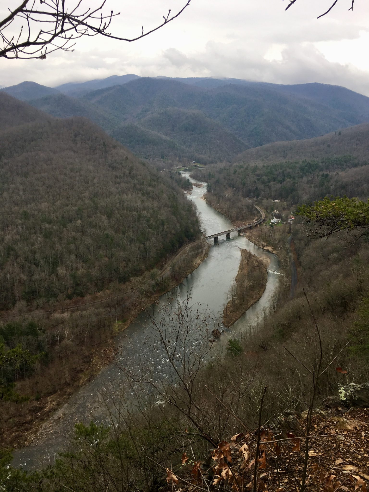 Hiking down to the town of Erwin, TN