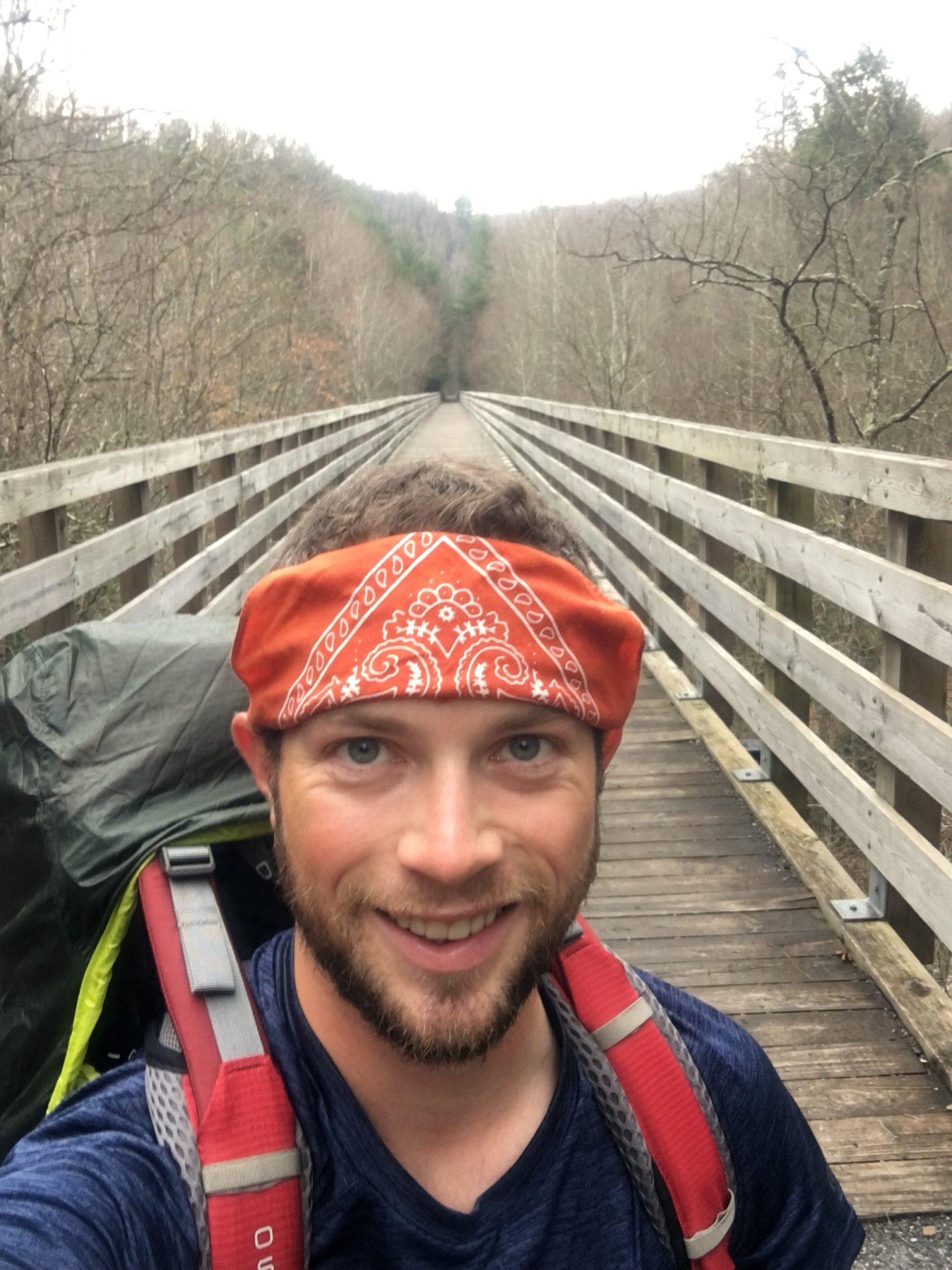 Crossing a bridge on the Virginia Creeper Trail