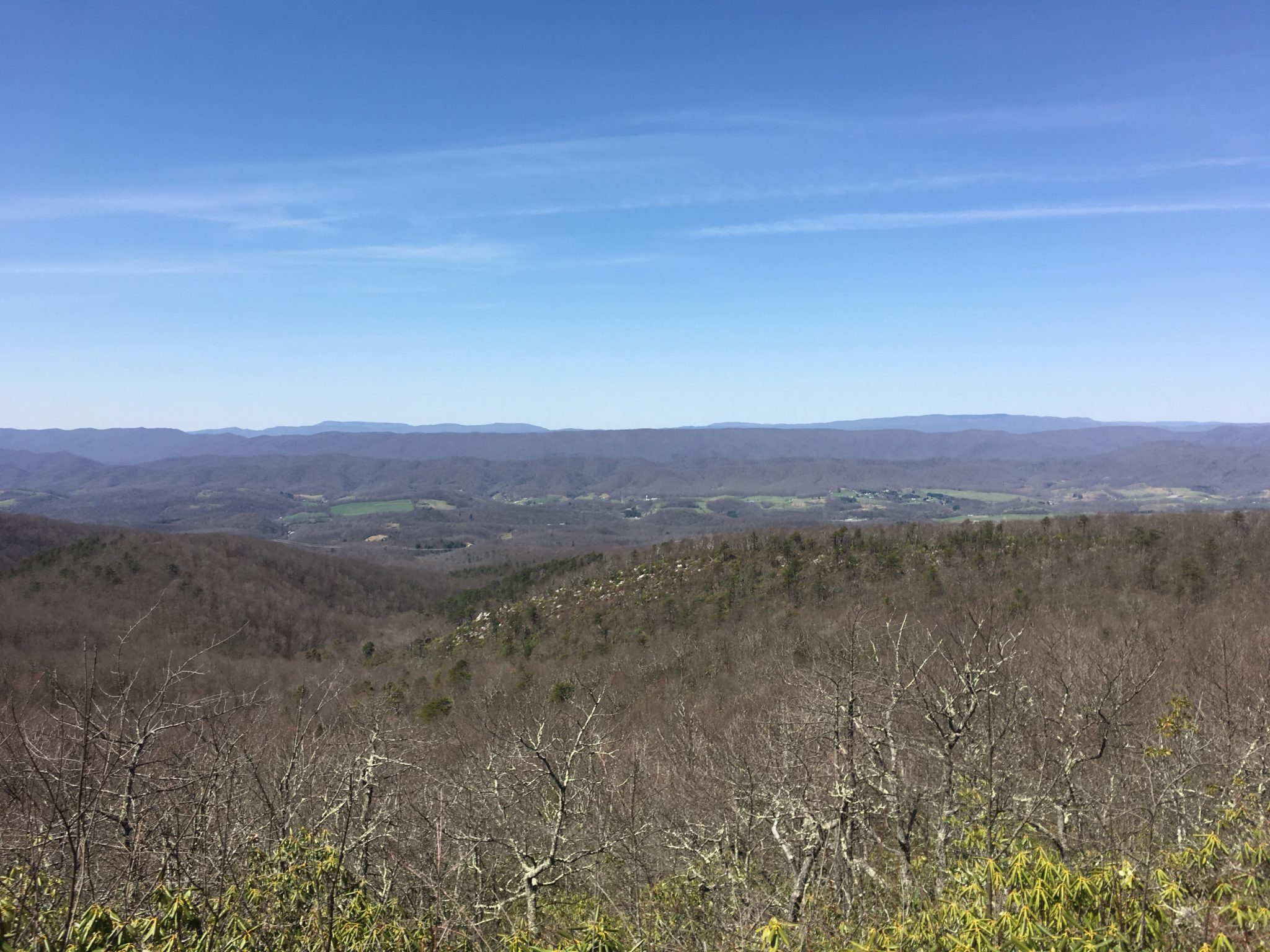 Typical views of Virginia with small towns and farms in the valley