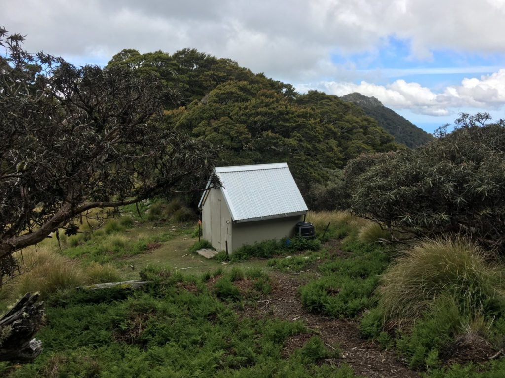 The hut located in the saddle between the two peaks
