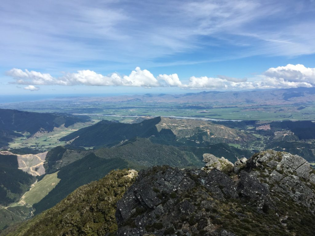 The Wairau Valley below with the town of Blenheim and the Cook Strait in the distance