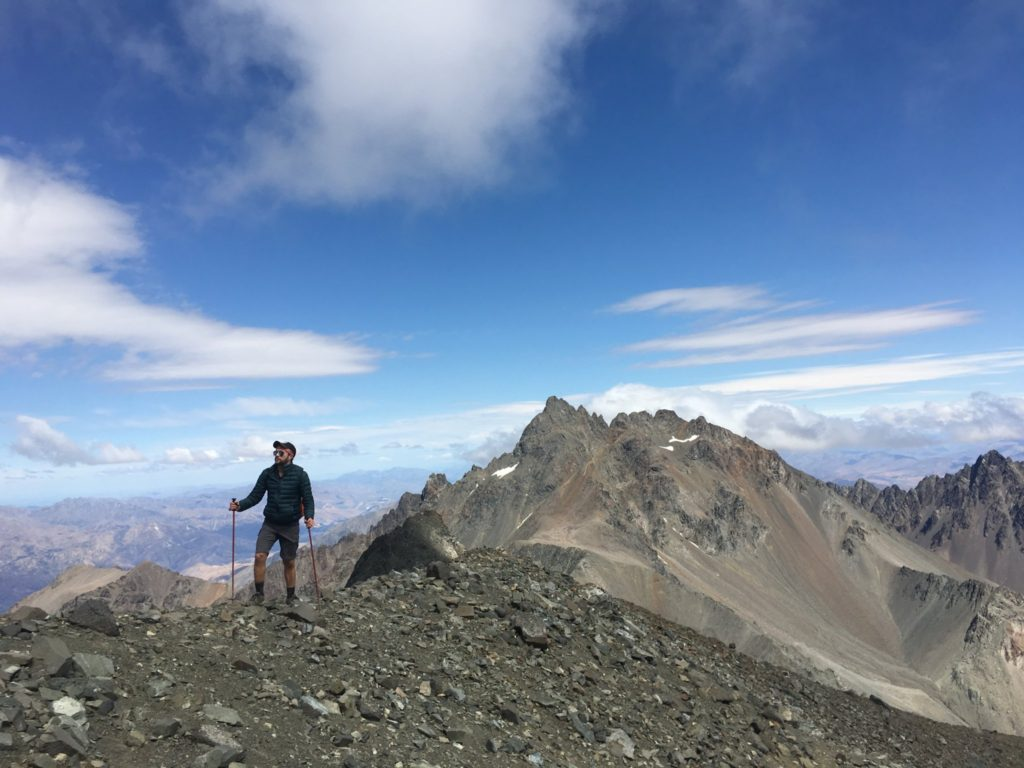 Hiking up the final ridge to the summit with Mt. Alarm in the background