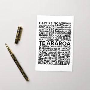 Te Araroa Word Art Postcard